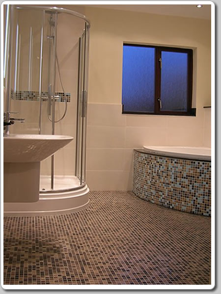 Photo of a mosaic finished bathroom design from one of our clients in Finaghy, South Belfast.