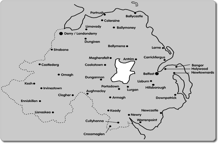 A Builders map of Northern Ireland showing the locations where Buildingrooms completes thier building and renovation work