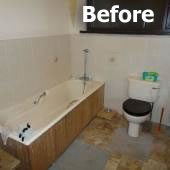 Bathroom installation project before renovation work begins